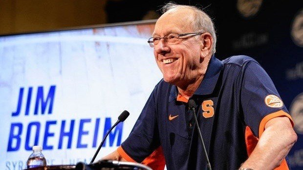 """Syracuse coach Jim Boeheim speaks at ACC media day. He said he'll call Louisville's Rick Pitino, """"but not right now."""" (AP image)"""