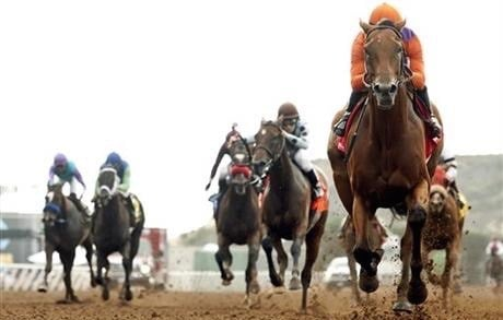 Beholder wins the Clement Hirsch Stakes in August. (Benoit Photo via AP)