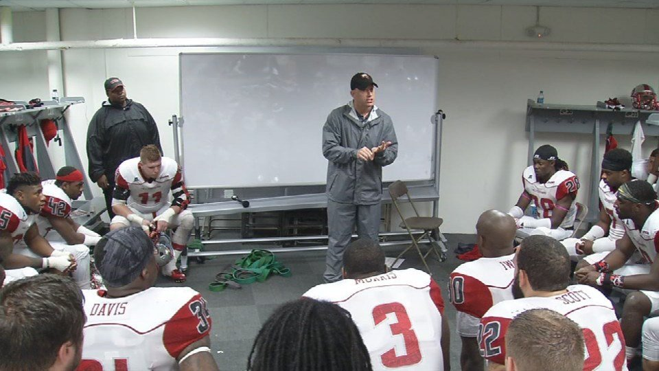 WKU head coach Jeff Brohm gives a speech to his team before slamming a chair and leading the team onto the field to face the LSU Tigers in Death Valley.