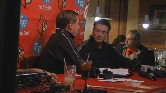"""It was all basketball business for the coach during """"The Rick Pitino show"""" at Tumbleweed."""