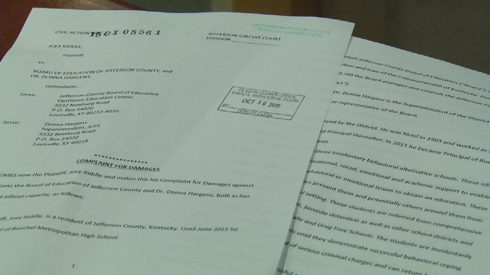 Lawsuit filed by longtime JCPS administrator Joey Riddle on Friday.