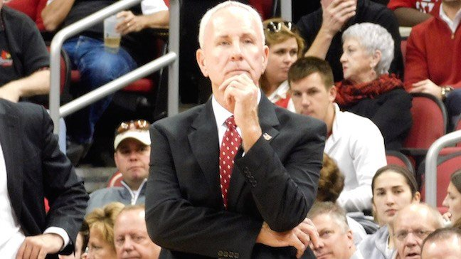 Bellarmine coach Scott Davenport watches his team against Louisville. (WDRB photo by Eric Crawford)