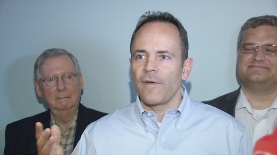 Matt Bevin began his eight-stop statewide tour with a rally in Louisville and a show of Republican unity -- even appearing with his former rival, U.S. Sen. Mitch McConnell.
