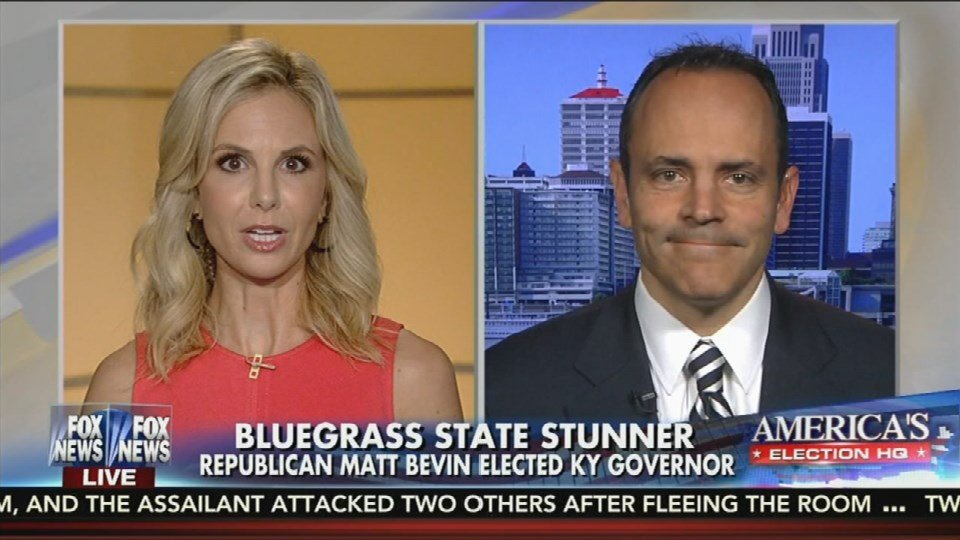 Screen shot of Matt Bevin appearing on Fox and Friends.