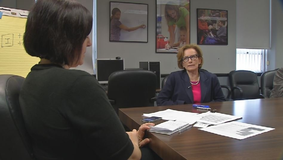 JCPS Superintendent Donna Hargens is interviewed by WDRB's Toni Konz on Nov. 5, 2015 (WDRB News photo)