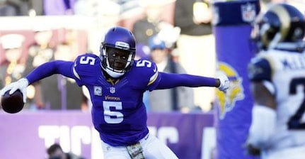Teddy Bridgewater left the Vikings' game with a possible concussion Sunday. (AP Photo.)
