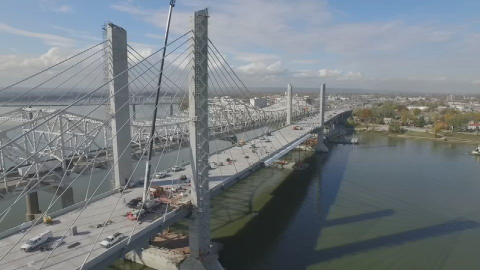 A view of the new downtown bridge looking north from the WDRB Drone Cam.