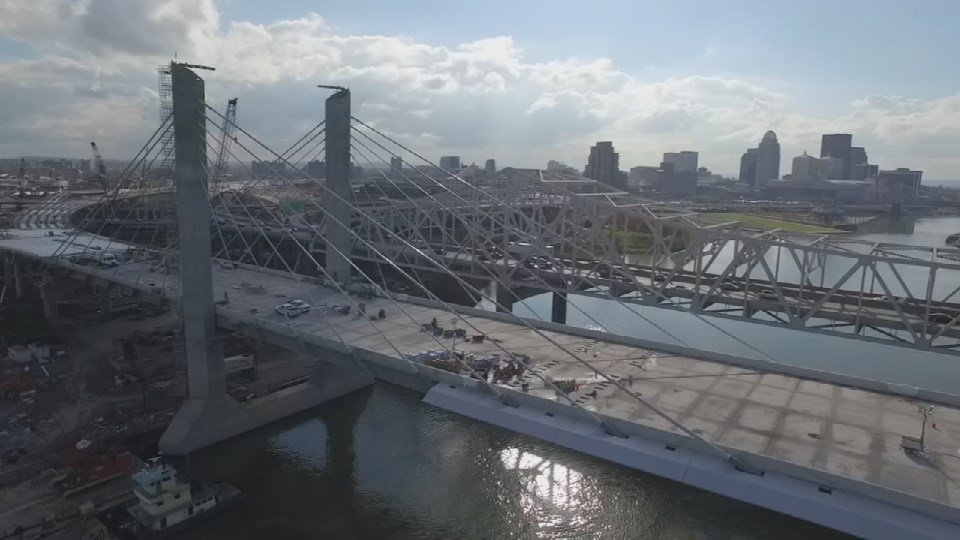 A look at the downtown bridge looking south from the WDRB Drone Cam.