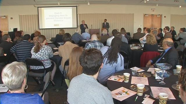 The Center for Women and Families held a breakfast on Nov. 11, 2015 to encourage men to help put an end to domestic violence.