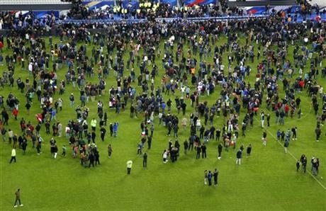 Two explosions were heard outside the Stade de France stadium. (AP Photo/Michel Euler)