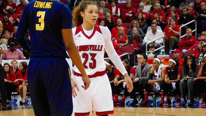 Junior transfer Briahanna Jackson scored 21 points in her KFC Yum! Center debut, but Louisville lost to California 75-71. (WDRB photo by Eric Crawford)