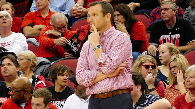 Louisville coach Jeff Walz watches his team during Sunday's 75-71 loss to California. (WDRB photo by Eric Crawford)