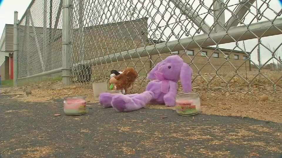 A tribute to the murdered 7-year-old near the school where she went missing Friday night.