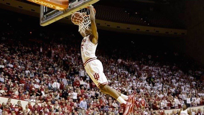 Indiana's Troy Williams scores on a breakaway slam as part of a 15 straight made field goals in Monday's win over Austin Peay. (AP photo)