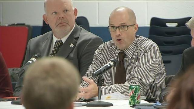 Dr. Anthony Orr speaks at the meeting of the Nelson County School Board Nov. 17, 2015.