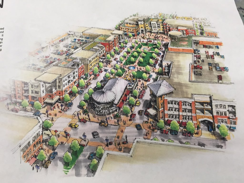 A rendering shows one of the 'town center' developments included in the incentive deals for developers.