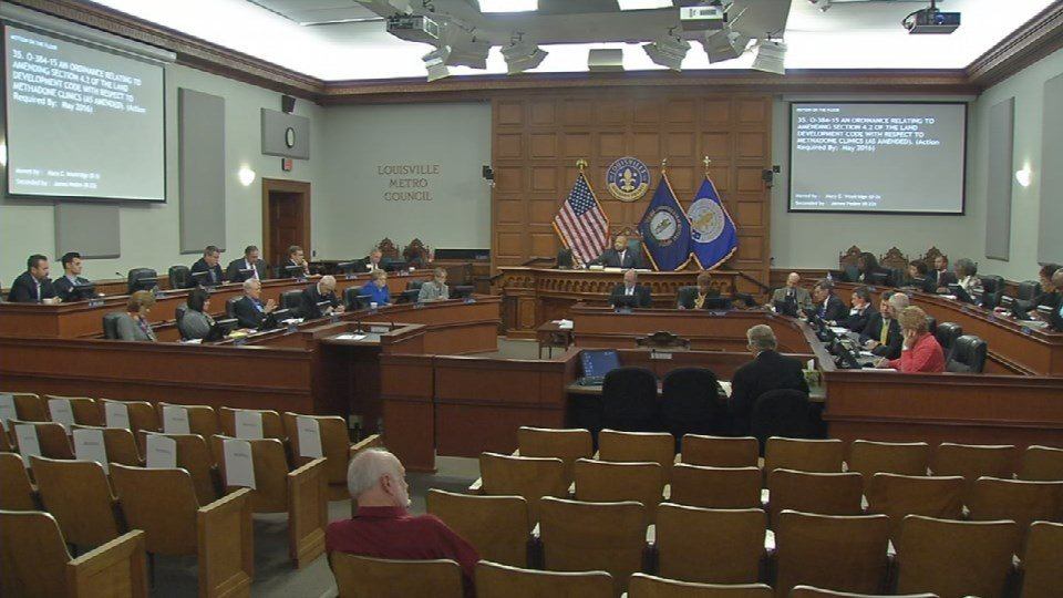 An ordinance passed without opposition at a Metro Council meeting Thursday, Nov. 19, 2015, which requests the Louisville Metro Planning Commission research where best to place methadone clinics.