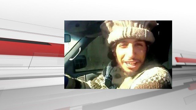 (Militant video via AP). This undated image taken from a Militant Website on Monday, Nov.16, 2015, shows Belgian Abdelhamid Abaaoud.
