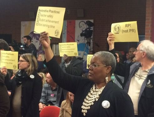 Concerned community members attend the JCPS school board meeting on Monday (Toni Konz, WDRB News)