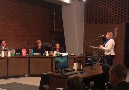 Former JCPS teacher Carrie Bolton tells the school board why she resigned from the district two weeks ago (Toni Konz, WDRB News)
