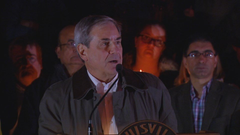 U.S. Representative John Yarmuth speaks to the people who gathered downtown.