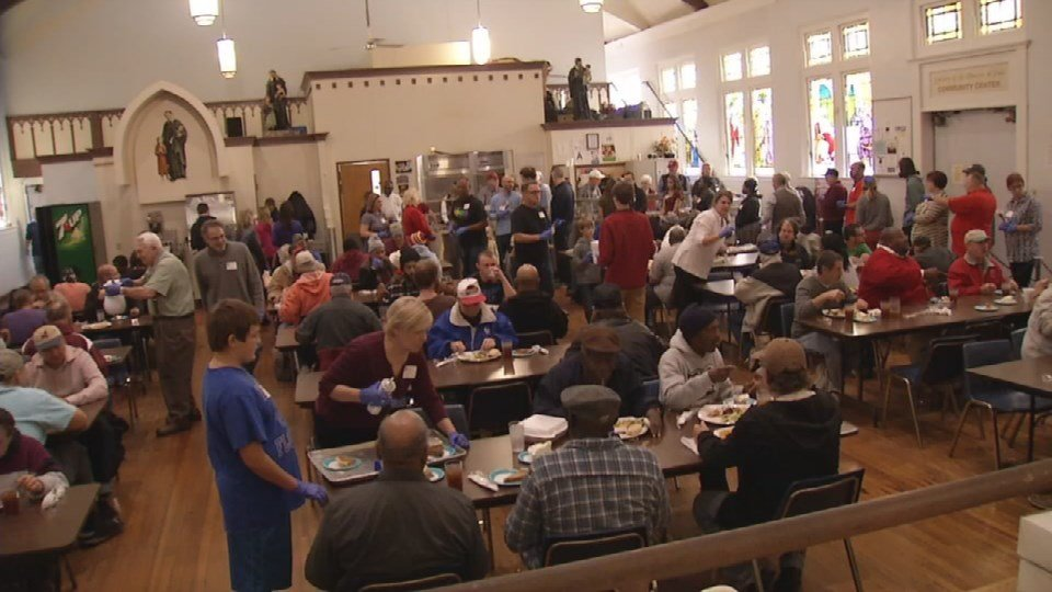 About 300 people showed up for a hot Thanksgiving meal at St. Vincent de Paul.