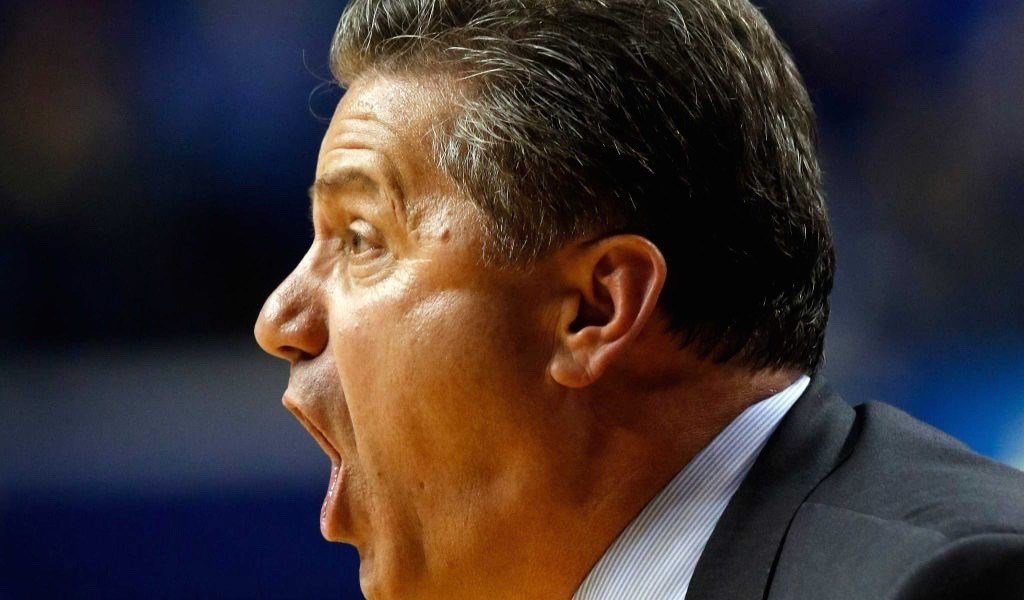 Kentucky coach John Calipari shouts to his team during Monday's 75-63 win over Illinois State. (AP image)