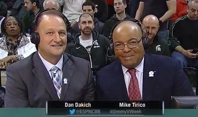 Dan Dakich and Mike Tirico ruffled some Cardinal fan feathers during Wednesday night's game broadcast. (ESPN screen shot)