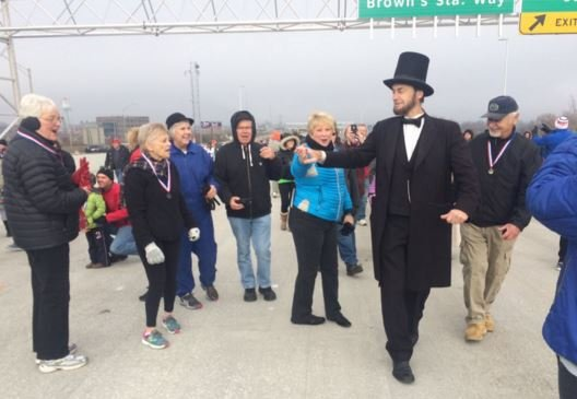 Among those who walked the new Abraham Lincoln Bridge on Saturday -- Abe Lincoln look-a-likes (Photo by Toni Konz, WDRB News)