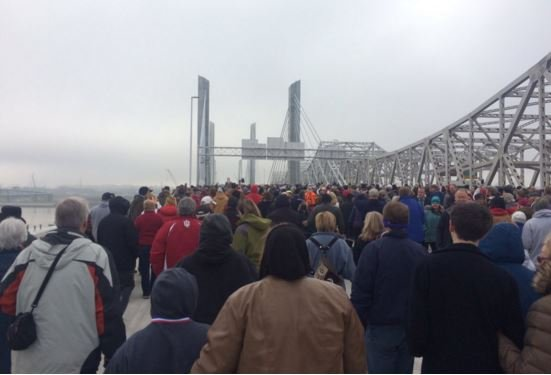 Thousands of people walked the Abraham Lincoln Bridge on Saturday (Photo by Toni Konz, WDRB News)