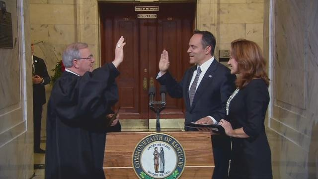 Matt Bevin was sworn in as Kentucky's 62nd governor at a private ceremony just after midnight on Dec. 8, 2015.