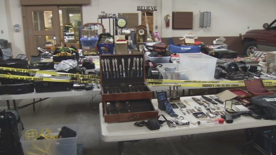 Clark County Sheriff's Office display the recovered items