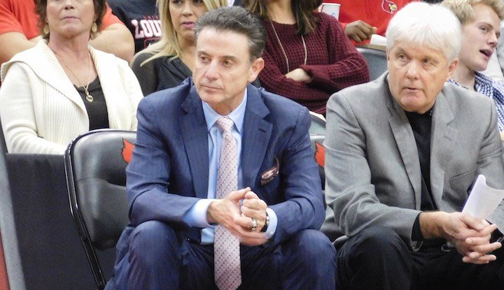 Rick Pitino and assistant Ralph Willard watch in the second half of Louisville's win over Kennesaw State. (WDRB photo by Eric Crawford)