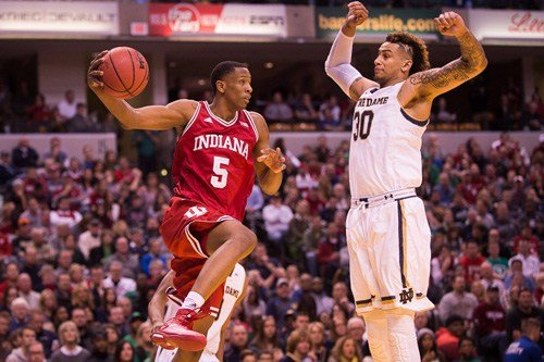 IU's Troy Williams (5) drives around Zach Auguste in IU's 80-73 win over Notre Dame. (Jamie Owens photo.)