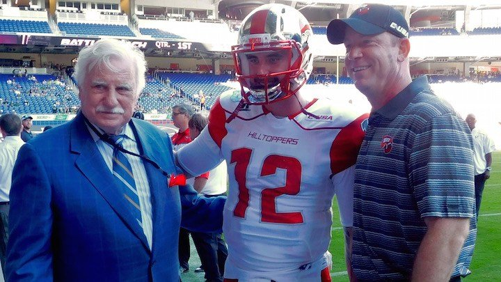 Brandon Doughty with Howard Schnellenberger and Jeff Brohm before the Miami Beach Bowl (WDRB photo by Eric Crawford).
