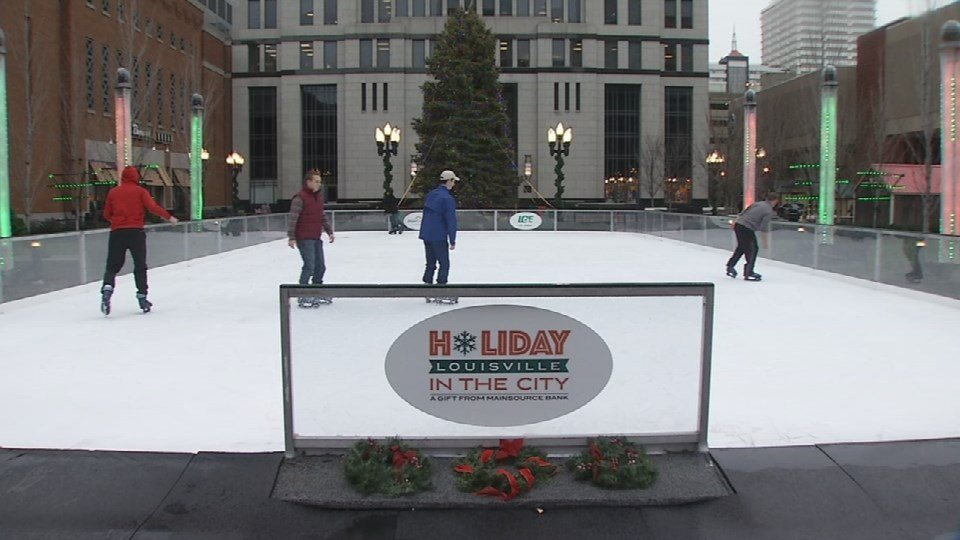 This is the first time the city has had a real ice rink at Fourth and Jefferson Streets.