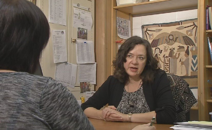 """""""We have a lot of students who have experienced war or some kind of violence...sometimes being in school is the kind of thing that keeps them sane,"""" ESL Newcomer Academy principal Gwen Snow (Toni Konz, WDRB News)"""