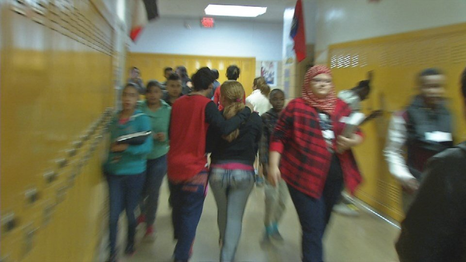 Students change classes at the ESL Newcomer Academy on Dec. 16, 2015 (Toni Konz, WDRB News)