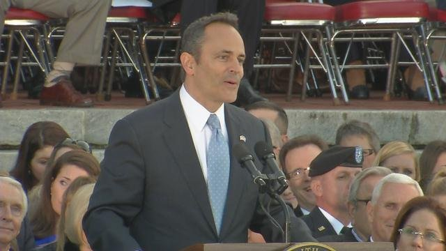 Matt Bevin delivers his inauguration speech at the Capitol after being sworn in as Kentucky's Governor, Dec. 8, 2016.