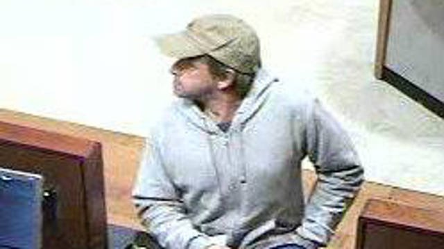 A surveillance photo released by Medford Police of the suspected bank robber.