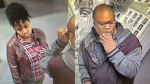 Surveillance photos provided by St. Matthews Police show two people the police suspect in the thefts of sunglasses.