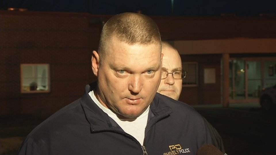 Shively Police Chief Kevin Higdon reads a prepared statement to WDRB Friday evening, Jan. 8, 2016.