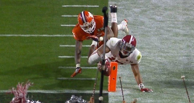 This dive into the end zone by Alabama's Kenyan Drake capped a 95-yard TD return that helped put the College Football playoff championship game away for Alabama. (ESPN screen shot)