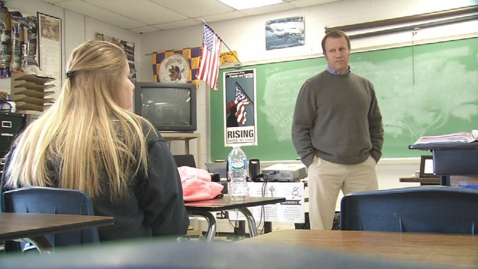 Male High School teacher Todd Driskell showed Hannah's video to all five of his freshman health classes on Wednesday. (Photo by Toni Konz, WDRB News)