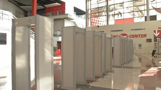 It cost $200,000 to install metal detectors at all of the entrances of the KFC Yum Center