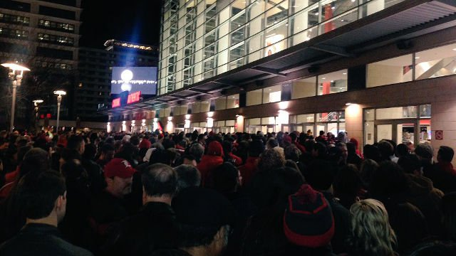 A photo from outside the Yum Center shortly before tip off.