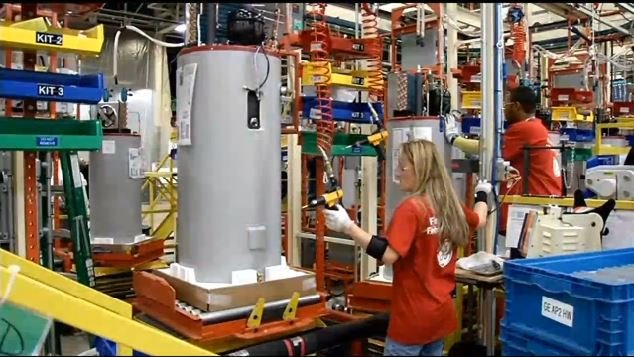 Water heater production inside GE Appliance Park, Louisville Ky.