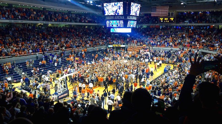 Auburn students storm the court in Auburn Arena after the Tigers upset Kentucky. (WDRB photo by Eric Crawford)