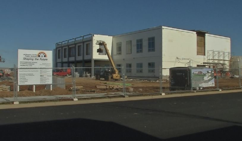 Exterior view of the new Norton Commons Elementary School on Jan. 18, 2016 (WDRB News)