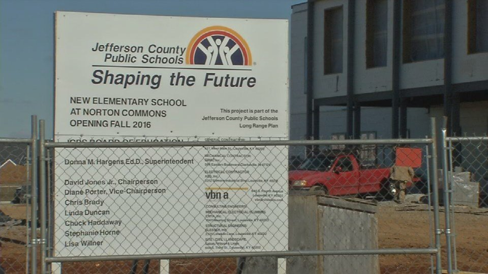 JCPS says good weather has helped ensure the new elementary school being built has remained on schedule. (WDRB News)